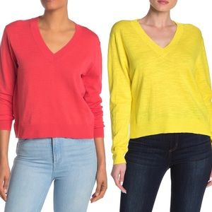 J. Crew NWT Cotton V Neck Sweaters BUNDLE Lot of 2